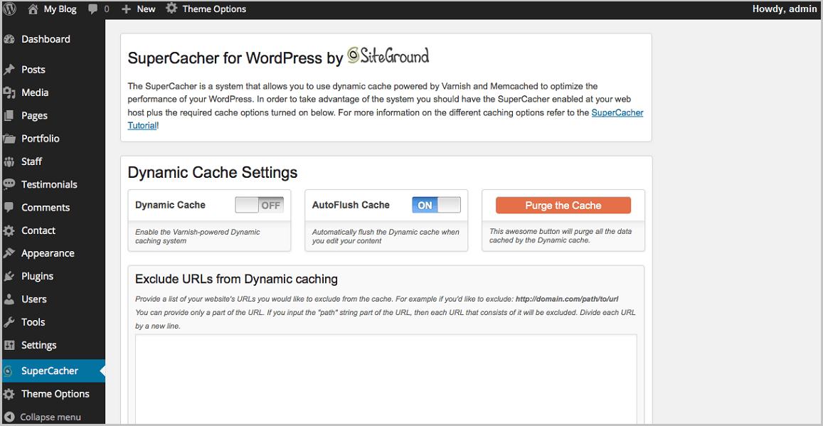 A2 Hosting vs Siteground - WordPress Dashboard