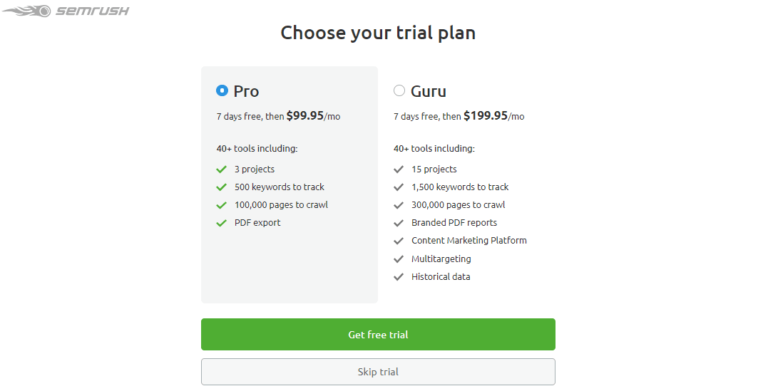 SEMrush Free Trial Pro Account