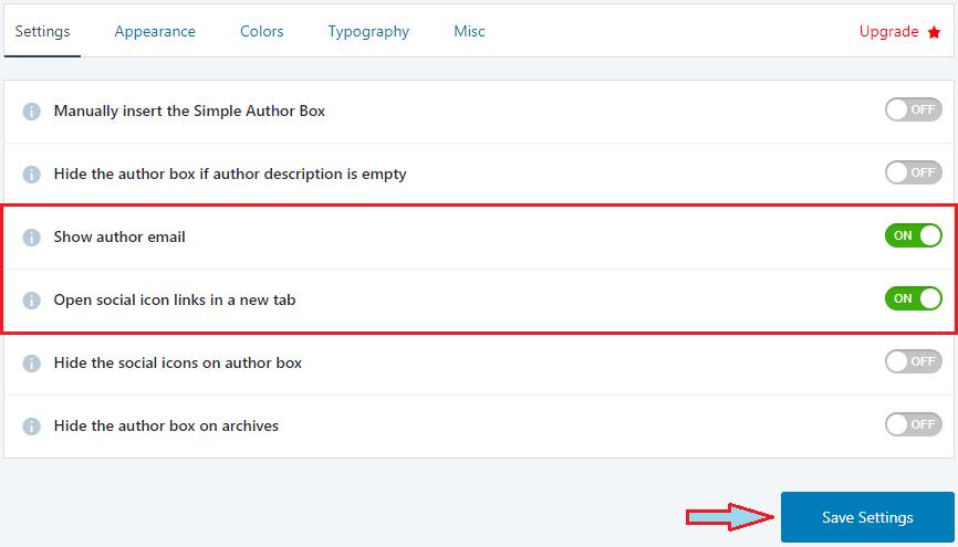 Simple Author Box Plugin Settings