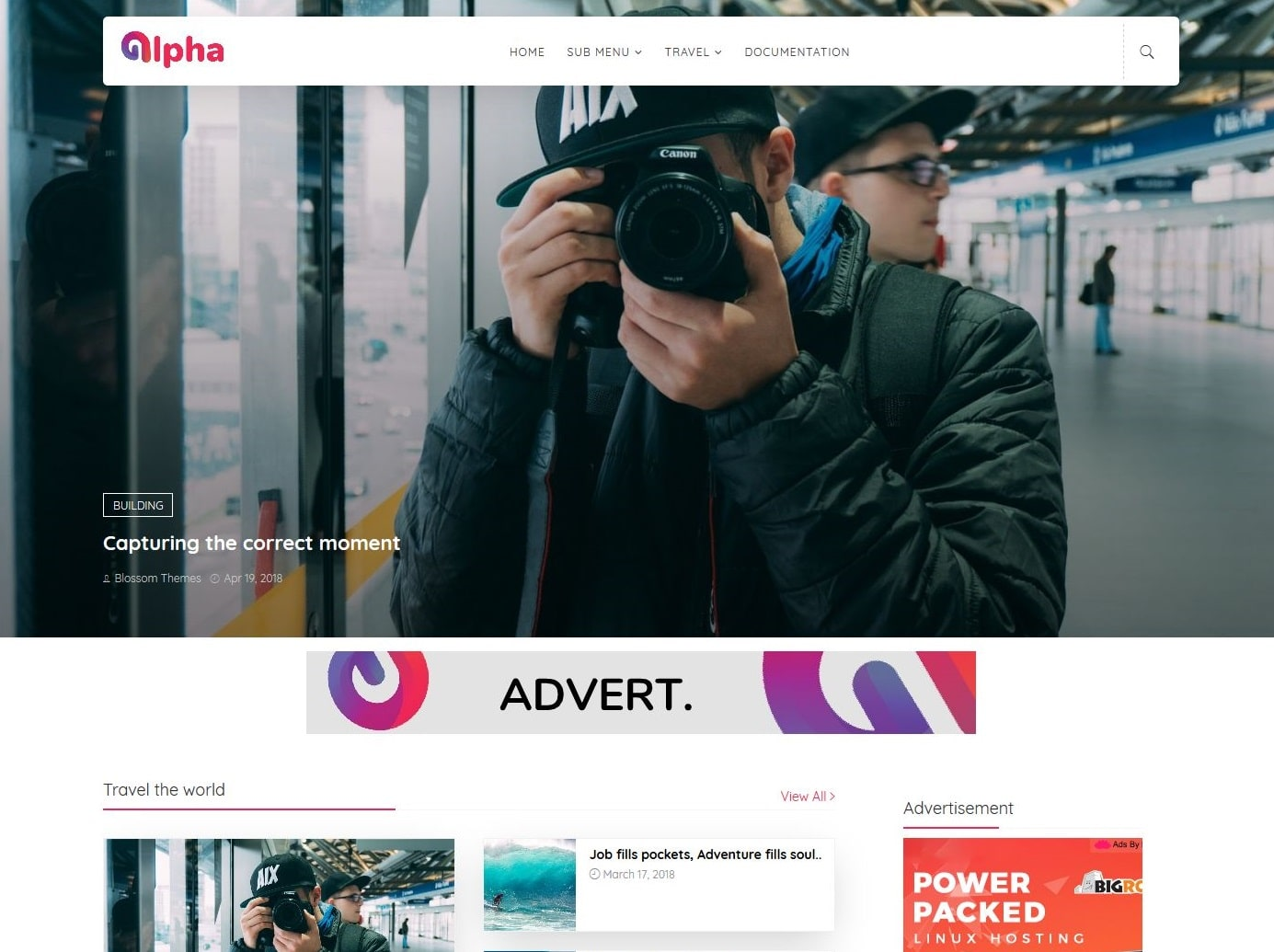 Alpha blogger template without copyright
