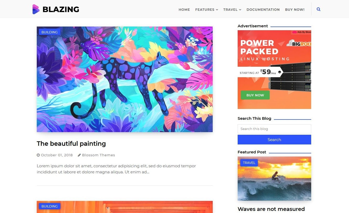 Blazing blogger template without copyright