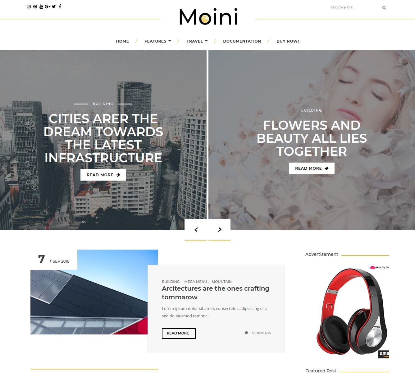 Moini blogger template without copyright