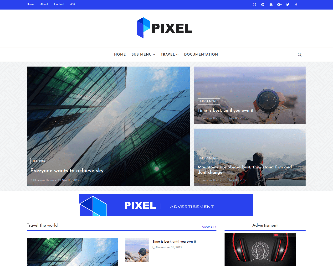 Pixel blogger template without copyright